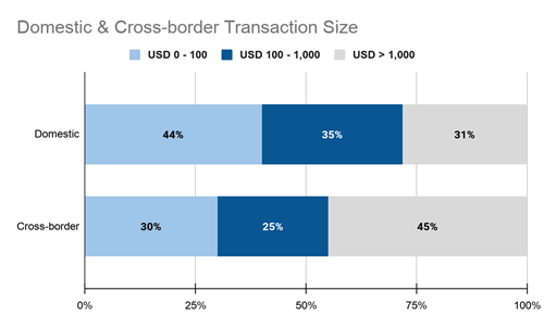 Chart depicting findings of domestic and cross-border cryptocurrency transaction sizes globally.